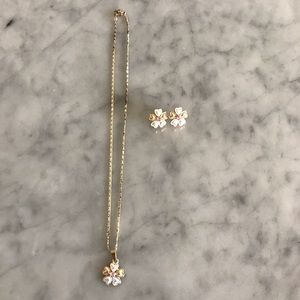 Jewelry - Five Leaf Clover Pink Silver Gold Tone Set